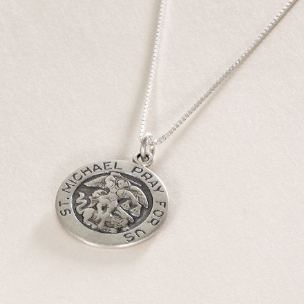 Saint Michael Medal Necklace - Optional engraving
